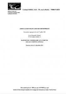 Rapport du commissaire aux comptes sur les comptes annuels 2016 de l'AFH