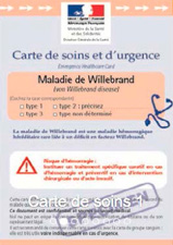 carte de soins Willebrand